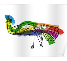 decorative peacock like a child's drawing Poster