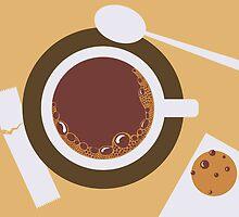 image of a cup of coffee, sugar, spoons and cookies by OlgaBerlet