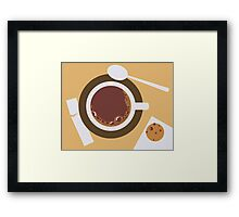 image of a cup of coffee, sugar, spoons and cookies Framed Print
