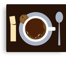 image of a cup of coffee, sugar, spoons and cookies Canvas Print