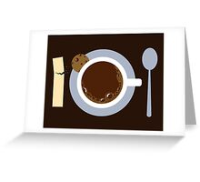 image of a cup of coffee, sugar, spoons and cookies Greeting Card