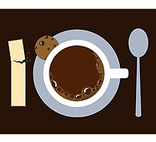 image of a cup of coffee, sugar, spoons and cookies Photographic Print