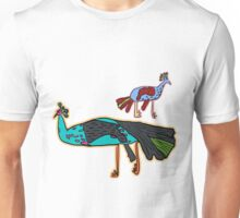 decorative peacock like a child's drawing Unisex T-Shirt