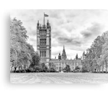 Houses of Parliament - Victoria Tower in Monochrome Canvas Print