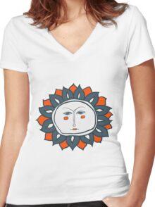 Sun face Women's Fitted V-Neck T-Shirt