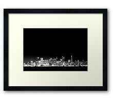 SF Skyline Black & White Framed Print