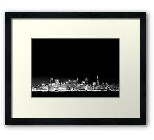 SF Skyline Black & White Framed Print