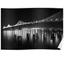 SF Bay Bridge Illuminated BW Poster