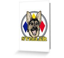 A dog named Steeler Greeting Card