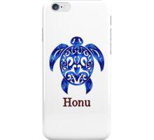 Sparkling Blue Hawaiian Sea Turtle on White iPhone Case/Skin