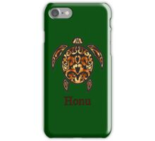 Gold Hawaiian Sea Turtle on Ocean Green iPhone Case/Skin