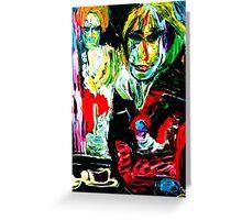 LATE TEA - acrylic, tempera, paper 22 x 28'' Greeting Card