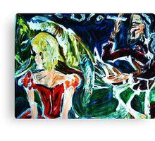 MISALLIANCE - acrylic, tempera, paper 22 x 28''  Canvas Print