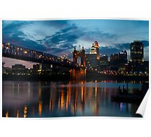 John A. Roebling Suspension Bridge Reflection Poster