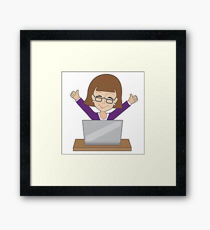Business Lady Laptop Framed Print