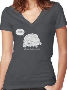 I am not a turtle! Women's Fitted V-Neck T-Shirt