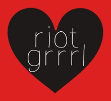 Riot Grrrl - White Text One Piece - Short Sleeve