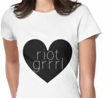 Riot Grrrl - White Text Womens Fitted T-Shirt
