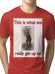 THIS IS WHAT WE REALLY GET UP TO Tri-blend T-Shirt