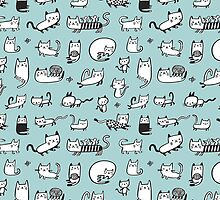 Blue Kitties by HappyDoodleLand