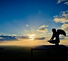 Human female Grotesque with wings at sunset by PhotoStock-Isra