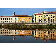 Pisa, reflections of the River Arno Photographic Print