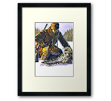 Soldier Petting a Snow Leopard Framed Print