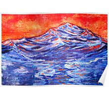 landscape in red and blue Poster