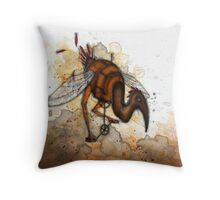 Pedalling Bird Throw Pillow