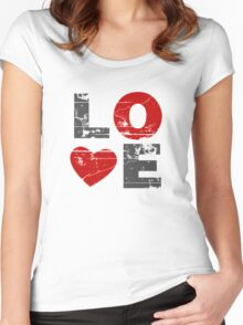Love Heart Distressed Valentines Day Women's Fitted Scoop T-Shirt