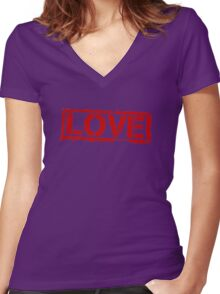 Love Stamp Valentines Day Women's Fitted V-Neck T-Shirt