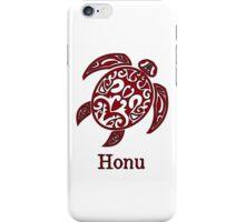 Red Hawaiian Sea Turtle on White iPhone Case/Skin