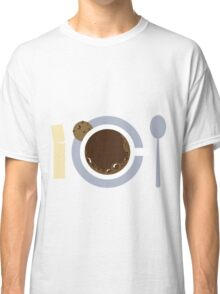 image of a cup of coffee, sugar, spoons and cookies Classic T-Shirt