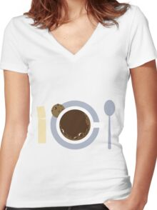 image of a cup of coffee, sugar, spoons and cookies Women's Fitted V-Neck T-Shirt