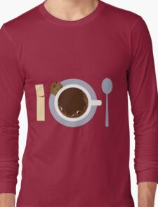 image of a cup of coffee, sugar, spoons and cookies Long Sleeve T-Shirt