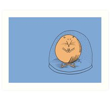 Fat mouse in a snow globe Art Print