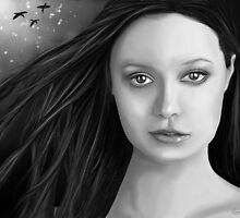Summer Glau - The girl with the beautiful face B&W by Richard Eijkenbroek