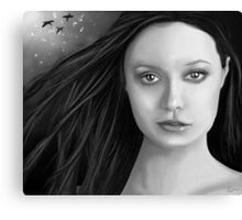 Summer Glau - The girl with the beautiful face B&W Canvas Print