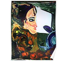 GIRL IN A CAR  - acrylic, tempera, paper 18 x 24'' Poster