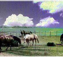 Horses under painted sky by Olga