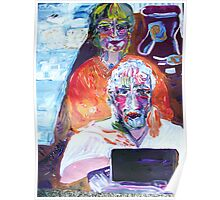 DOUBLE PORTRAIT - acrylic, tempera, paper 22 x 28''  Poster