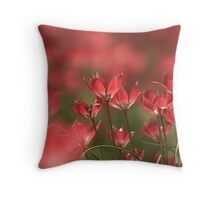 Red heads of tulips at Downton abbey Throw Pillow