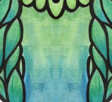 Watercolor Owl Blue and Green Sticker