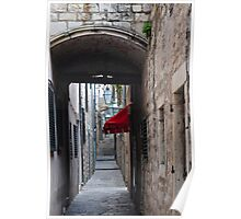 RED AWNING DUBROVNIK Poster