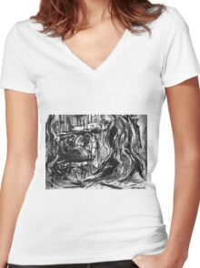 here in tree goddess commune apeman sensed her, she was close by......  Women's Fitted V-Neck T-Shirt