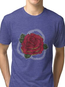 Rose in Red N Gold Tri-blend T-Shirt