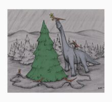 Dinosaurs Trimming the Tree - Colored One Piece - Long Sleeve