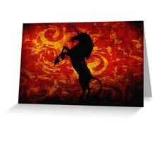 Dark Unicorn on Red Greeting Card