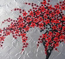 Red and black tree with silver background -zen blossom design by cathyjacobs