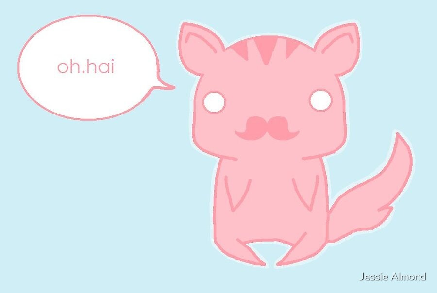 Oh Hai - Mustache Kitty by Jessie Almond